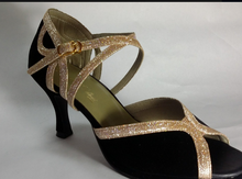New Women BLack Suede Gold Glitter Ballroom Latin Dance Shoes Wholesale Salsa Dance Shoes ALL SIZE