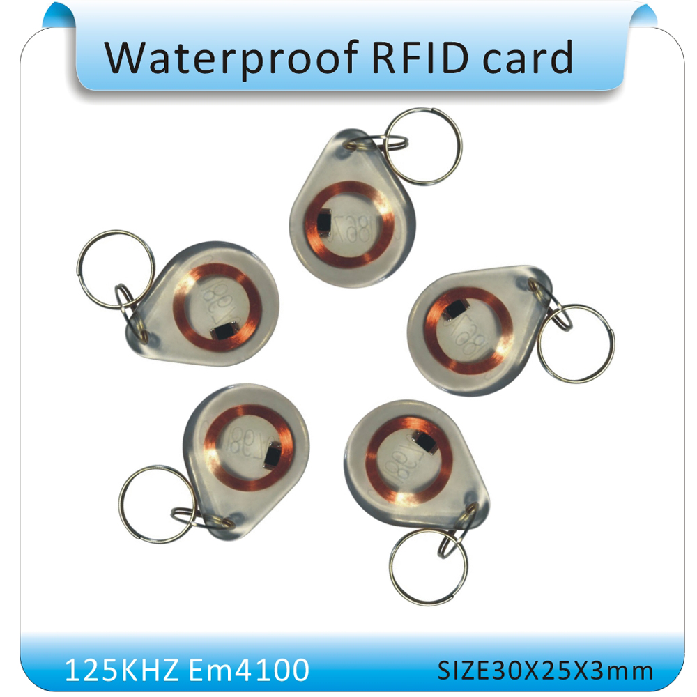 10PCS/Lot Waterproof crystal style 125KHZ RFID Smart ID Key Fobs / ID Tag / RFID EM4100 keyfob for access control system 10pcs sample 125khz rfid abs waterproof patrol button id patrol point