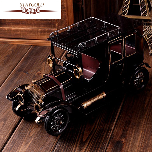 Zakka Grocery Hand-made Old Vintage Car Tin Toy Nostalgia Decoration Support