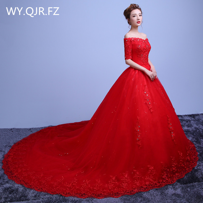 LYG-TY20H#Diamante Long Red tail 2018 autumn new lace up high-grade wedding party prom   dress   2018 Princess   Bridesmaid     Dresses
