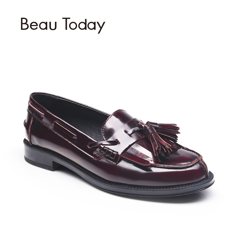 BeauToday Women Loafer Shoes Tassel Fringes Decoration Moccasin Genuine Cow Leather Slip-On Round Toe Casual Flats 27001 siketu best gift baby flats tassel soft sole cow leather shoes infant boy girl flats toddler moccasin bea6624