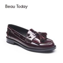 Beautoday Женские лоферы; обувь кисточка бахрома Украшения мокасины из натуральной коровьей кожи без застежки круглый носок повседневные туфли на плоской подошве 27001