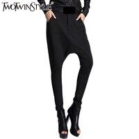 [TWOTWINSTYLE] 2017 סתיו נשים מכנסי הרמון ארוכים עם כיסים שחורים צבע בתוספת גודל נקבת מכנסיים היפ הופ אופנה החדשה