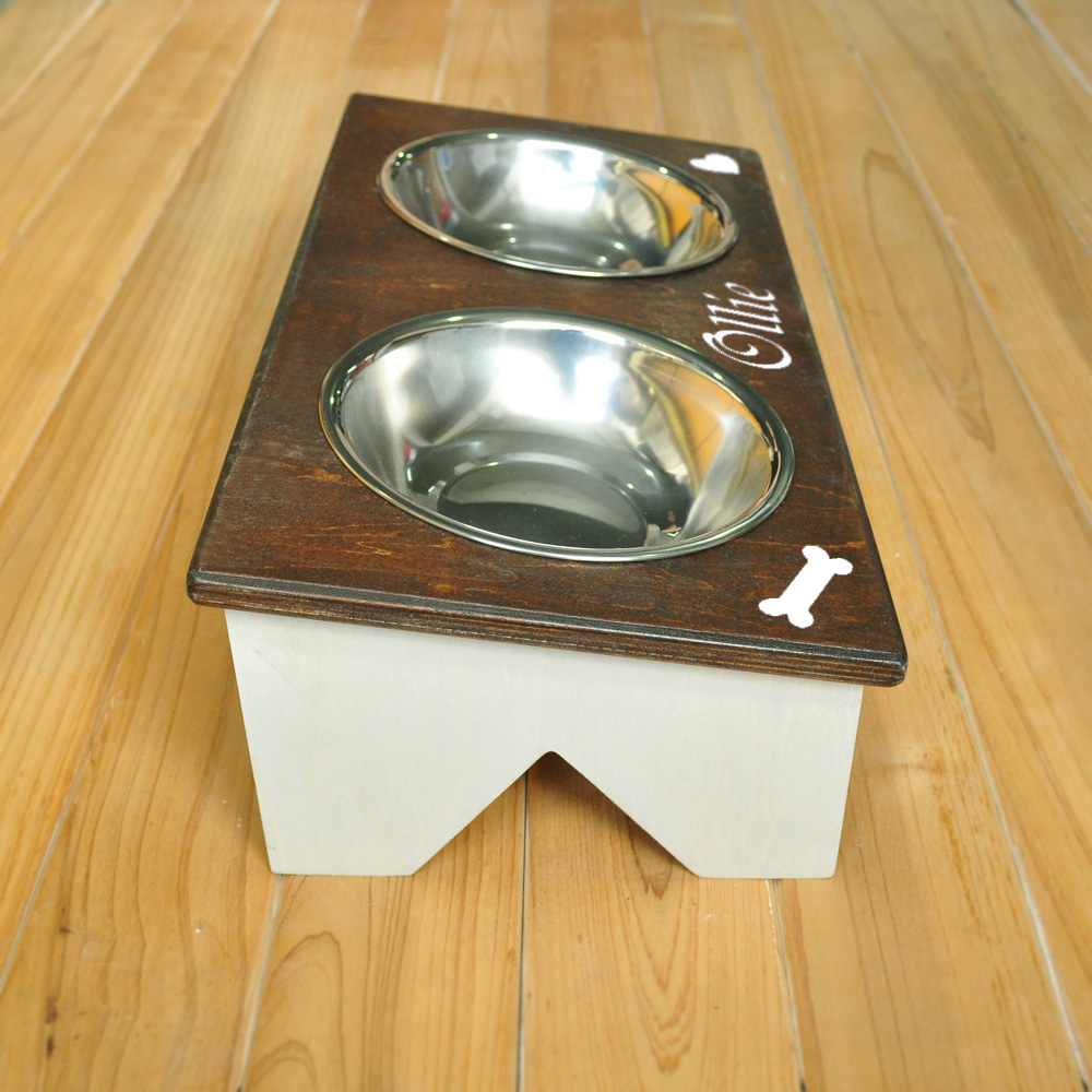 Personalized Dog Bowl Stand Rustic Custom Wood Name Farmhouse Decor In Diy Crafts From Home Garden On
