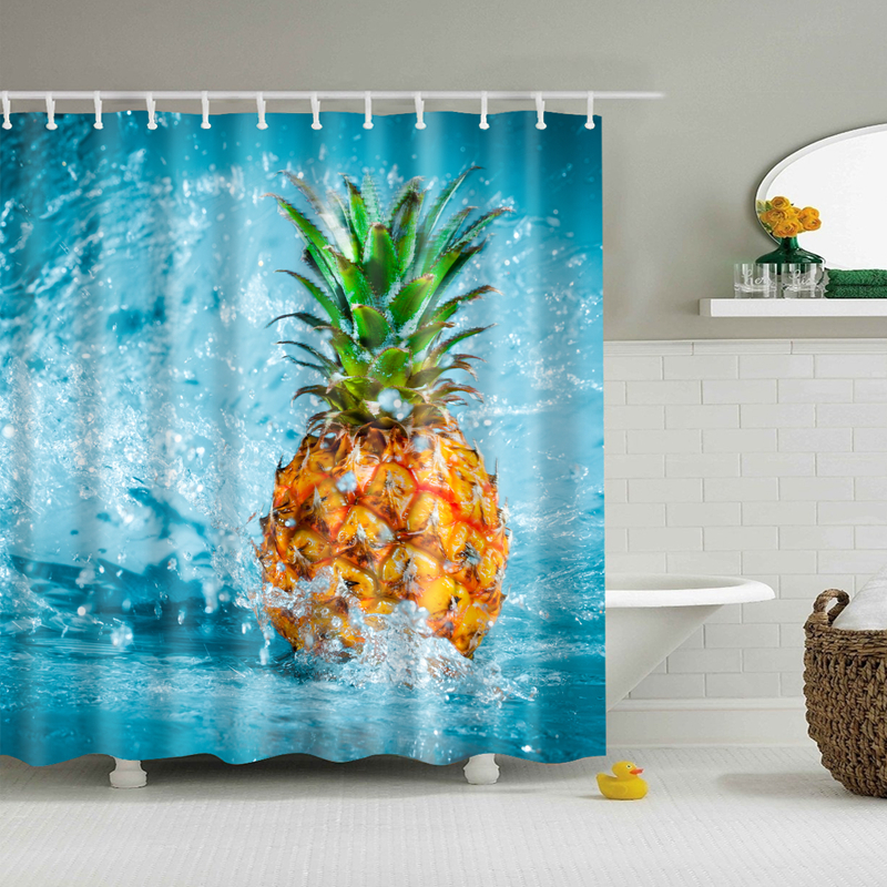 Image 2 - Natural Pattern Pineapple/ Flower / Leaf Polyester Shower Curtains Washable High Quality Colorful curtains for bathroom shower-in Shower Curtains from Home & Garden
