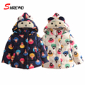 Winter Girls Jacket 2017 New Fashion Cartoon Prinitng Baby Girl Coat Winter Long Sleeve Hooded Thick Kids Clothes Girls 4417W