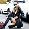 New 2017 autumn and winter women leather jacket have fur collar female coat real fur women's clothing motorcycle jakcets