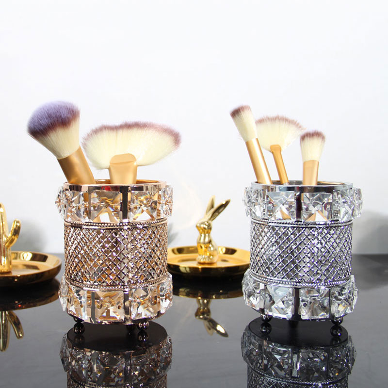 European Metal Crystal Makeup Tube Organizer Beauty Tools Storage Makeup Brush Pen Holder Desktop Decorative Ornaments