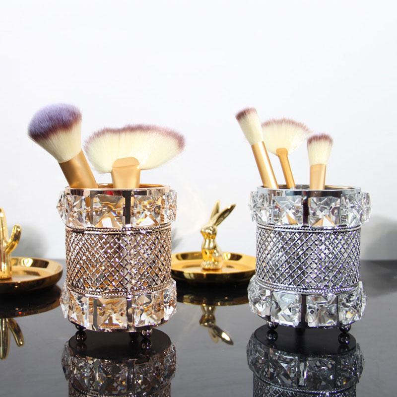 European Metal Crystal makeup tube Organizer Beauty Tools Storage Makeup Brush Pen Holder Desktop Decorative Ornaments