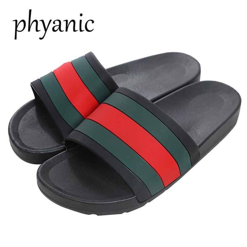 Phyanic 2018 Summer New Collect Womens rubber slide sandal Flat Heeled Bathroom Beach Shoes Couple Slippers