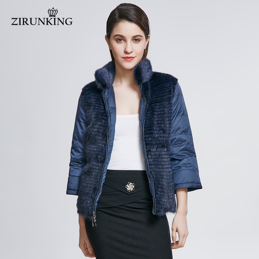 ZIRUNKING Real Mink Fur With Down Coat Lady Reversible Natural Mink Fur Jacket Female Down Coats Overcoat Clothing ZC1808