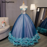 2017 Royal Blue Ball Gown Evening Dress Long Sweetheart Applique Floor Length Party Dresses Evening Gowns