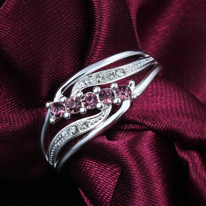 SANTIYAGO Red Zircon แหวนเงินชุบโปรโมชั่นเครื่องประดับสำหรับสุภาพสตรี