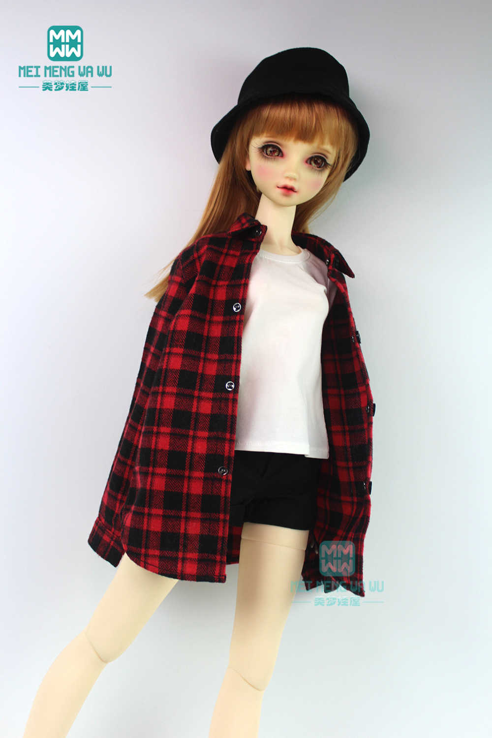 BJD accessoires pop kleding voor 1/3 BJD doll fashion T-shirt, plaid shirt, shorts