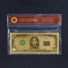 Billets de banque en feuille d'or de 1000 $ Us, billets de banque du monde en feuille d'or en Dollars américains, Collections de monnaies, cadeau