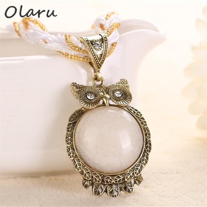 Olaru Vintage Bohemia Big Owl Pendant Neecklace Ethnic Woman Beads Choker Statement Necklaces New Fashion Jewelry Accessories