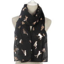Winfox Fashion Black Pink Grey Navy Scarf Women Female Shiny Foil Gold Metallic Cat Wrap Shawl Foulard Ladies