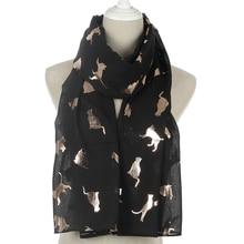 Winfox Fashion Black Pink Grey Navy Scarf Women Female Shiny Foil Gold Metallic Cat Wrap Shawl Foulard Ladies