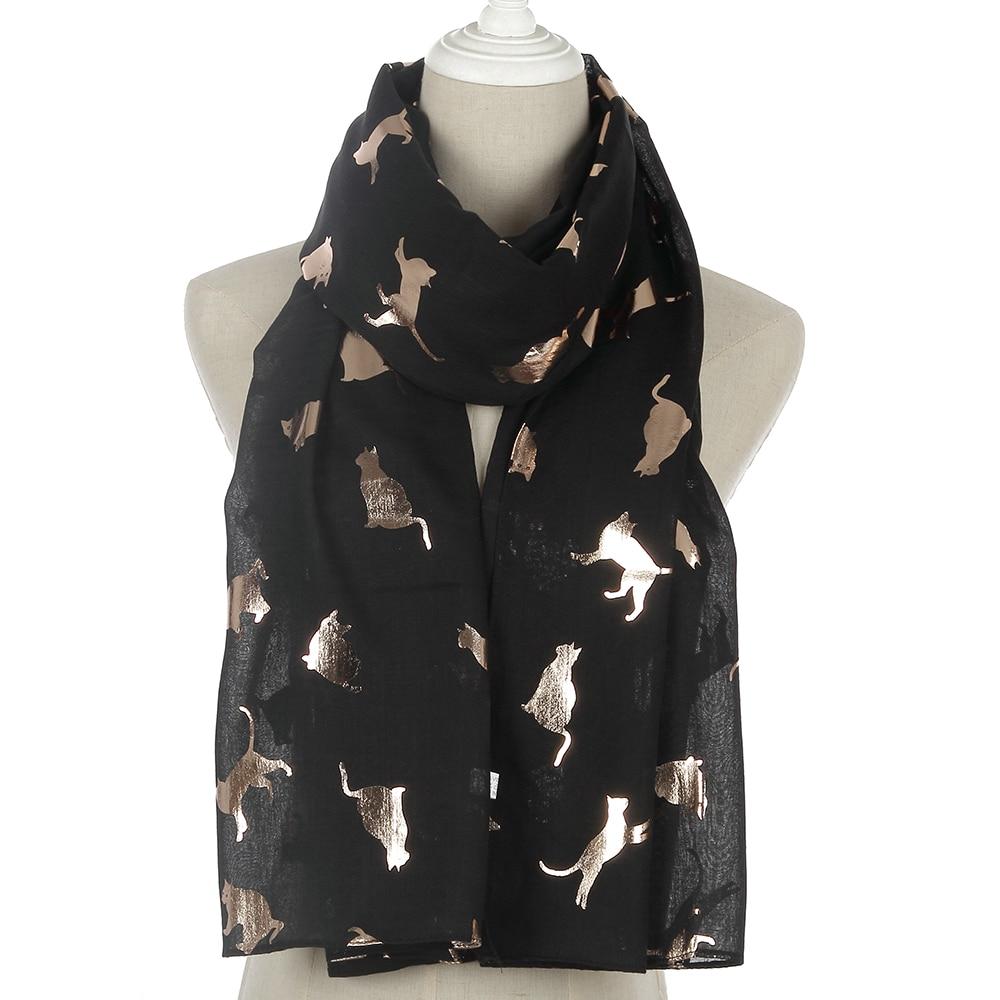 Winfox Fashion Black Pink Grey Navy   Scarf   Women Female Shiny Foil Gold Metallic Cat   Scarf     Wrap   Shawl Foulard Ladies