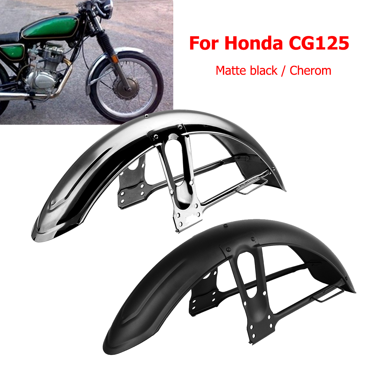 Motorcycle Front Mudflap Sand Splash Guard Mudguard Mud Flap For Fender For Honda CG125 Matte Black Chrome