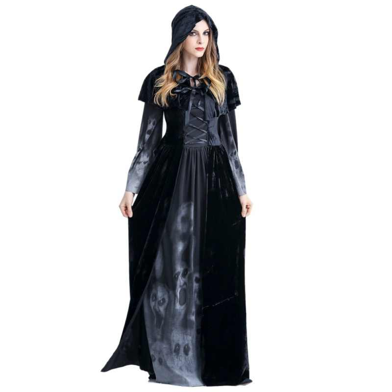 2c73fce461 Halloween Victorian Dress Cosplay Costumes Scary Vampire Witch Clothes  Women Medieval Masquerade Costume Ghost Fancy Maxi Dress