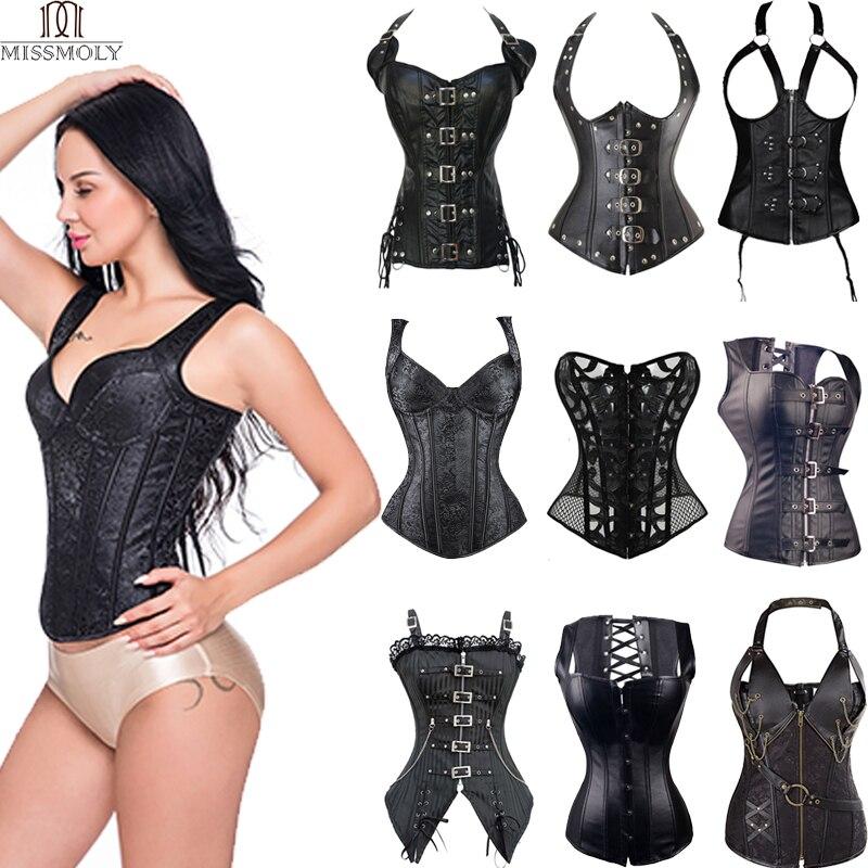 Miss Moly Steampunk En Cuir Corset Gothique Sexy Bustier Désossé En Acier Overbust Robe Underbust burlesque Top Plus Taille 6Xl Vêtements