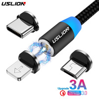 USLION 3A Fast Charging Magnetic USB Cable Type C Micro Cable LED Nylon Braided Type-C Magnet Charger For Iphone XS 7 Samsung 1M Mobile Phone Cables