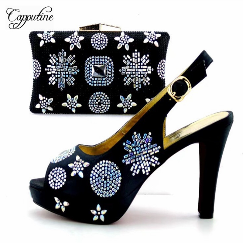 Capputine New Summer Rhinestone Shoes And Bag Set For Wedding Party Italian Style Shoes With Matching Bags Set Purple Colors hot artist new design summer style shoes and bag set african women shoes and matching bag set for wedding size 38 42 me7709