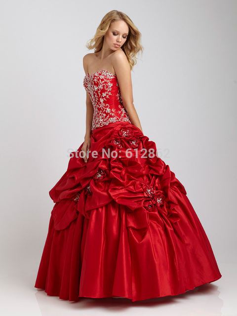 Strapless Ruffled Taffeta Beaded Lace Long Beautiful Red Prom ...