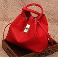 6 colores de cuero de vaca elegantes bolsas de mensajero de las mujeres bolsos de diseño bolsos de hombro negro como regalo