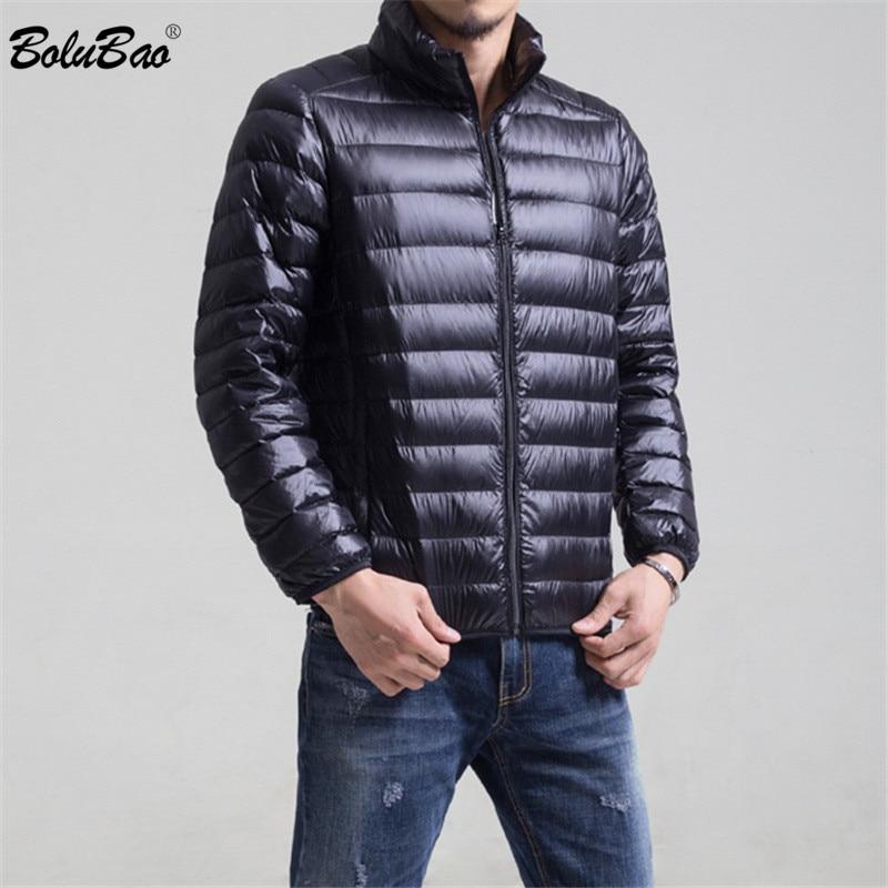 deb1e40b4c6 Moda marca invierno hombres abajo abrigos 2019 hombre Casual grueso cálido  Color sólido abajo chaquetas hombres Slim Fit Down abrigos
