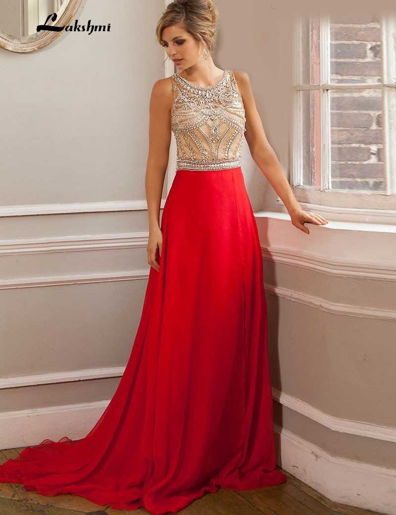 2016 High Neck Sheer Beaded Crystals Sparkle Prom Dress...