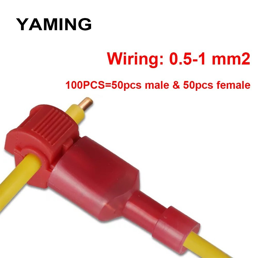 (100pcs) 50set Wire Connector 10A red T shape universal quick connector soft wire high-temperature high quality copper(China)