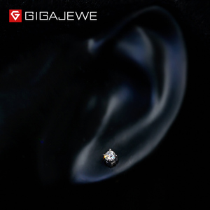 Image 2 - GIGAJEWE EF Round Cut Total 0.2ct Diamond Test Passed Moissanite 18K Gold Plated 925 Silver Earrings Jewelry Girlfriend Gift
