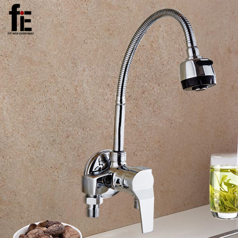fiE Wall Mounted Double Holes Kitchen Faucet Mixers Sink Tap Wall Kitchen Faucet Hot and Cold Water