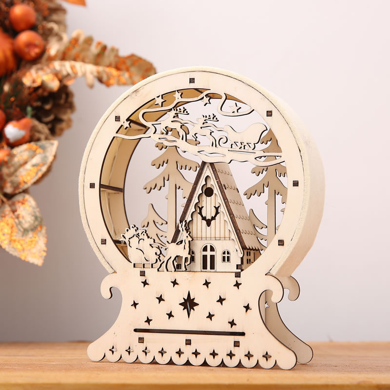 Cute Luminous Cabins Gift Creative Christmas Decorations Wood House Table Decor Christmas Ornaments For Home natale navidad 2017 батарея аккумуляторная pitatel tsb 162 pan12a 20c