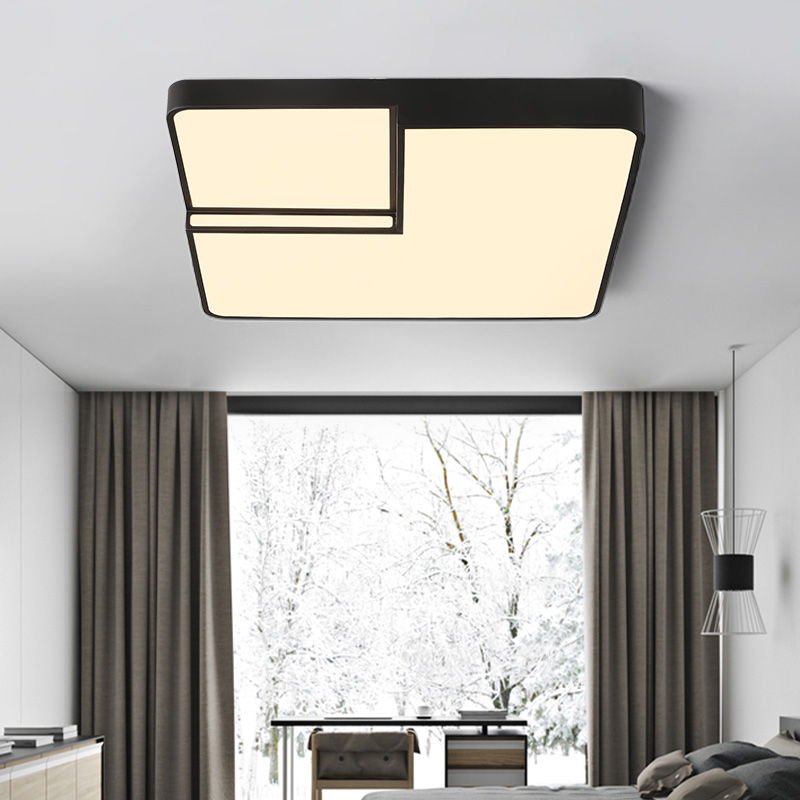 Square Modern Led ceiling lights for living room bedroom AC85-265V White/Black Home Deco Ceiling Lamp Fixtures Free Shipping white black modern led ceiling lights for living room bedroom square rectangle home dec modern led ceiling lamp free shipping