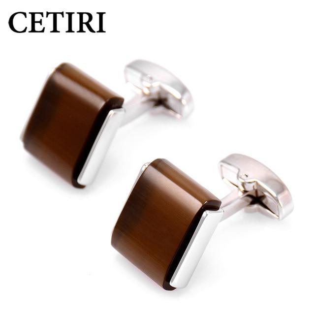 CETIRI Cufflinks High Quality Luxury Opal Cufflinks With Box For Mens Designer Brand Stone Cuff Links Square Brown Jewelry