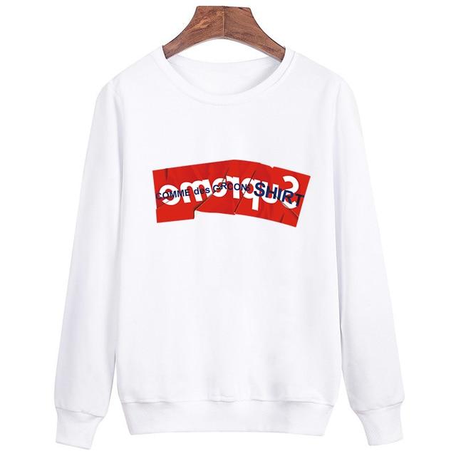 Hip Hop Men Sweatshirts Casual Brand Streewear Suprem Printed Hoodies Pullover Long Sleeve White Black Clothing Sweatshirt S12