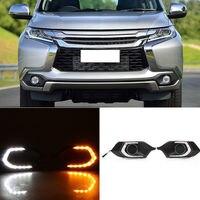 2 stks Wit/Geel Led-dagrijverlichting voor Mitsubishi Pajero Sport 2015-16