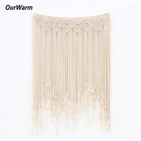 OurWarm Wedding Party Backdrops Cotton Rope Tassel Curtain Photo Booth Vintage Wedding Decoration Hawaiian Home Party Supplies