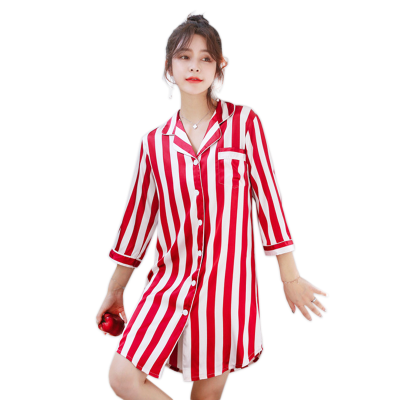 Sexy korean women   nightgowns   sweet striated satin silk nightwear women   sleepshirts   long sleeves women sleepwear dress