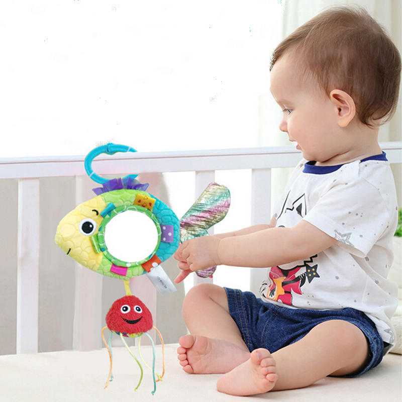 Lower Price with Baby Stroller Pendant Plush Fish Cartoon Mirror Pacifier Hanging Bed Cute Toys Soft Squeaky Rattle Newborn Sleeping Infant Kids Mother & Kids