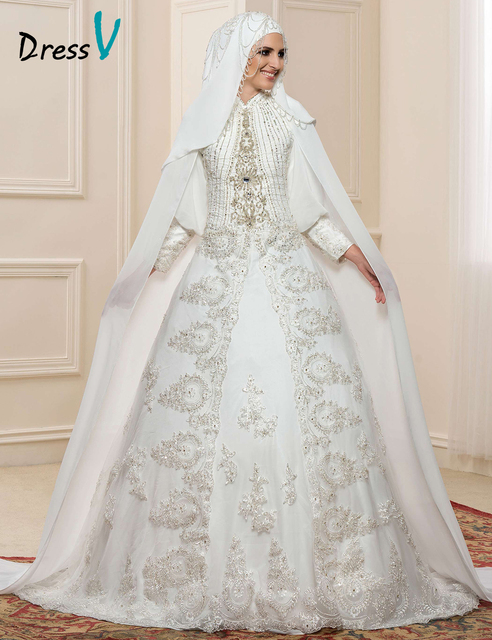 Gorgeous Lace Applique Long Sleeve Muslim Wedding Dresses Hijab High ...
