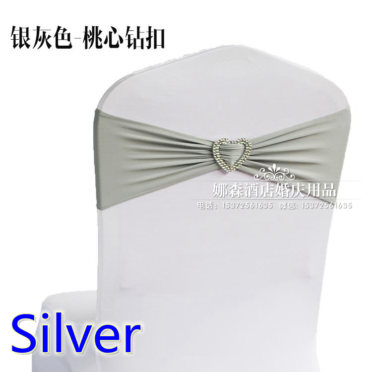 Silver colour wedding chair sash with heart buckle lycra band spandex sash bow tie For Wedding Banquet Decoration for sale-in Sashes from Home u0026 Garden on ...  sc 1 st  AliExpress.com & Silver colour wedding chair sash with heart buckle lycra band ...