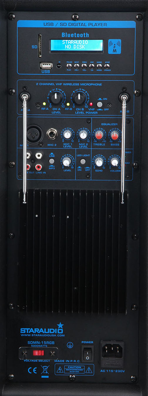 staraudio dual pro 5000W dual 15 powered pa stage speaker usb sd bluetooth led light 2ch vhf wireless mics system amp