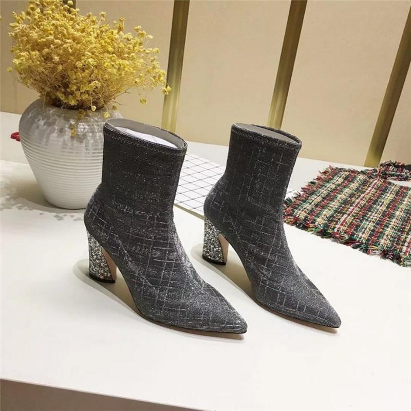 Invierno as Genuino Mujeres Zapatos Tacón Cuero Botas As Cuadrado Encaje Señora Moto Nuevo Otoño Pic Mujer Bling Las Pic Tobillo De Moda SR05qwz6zx