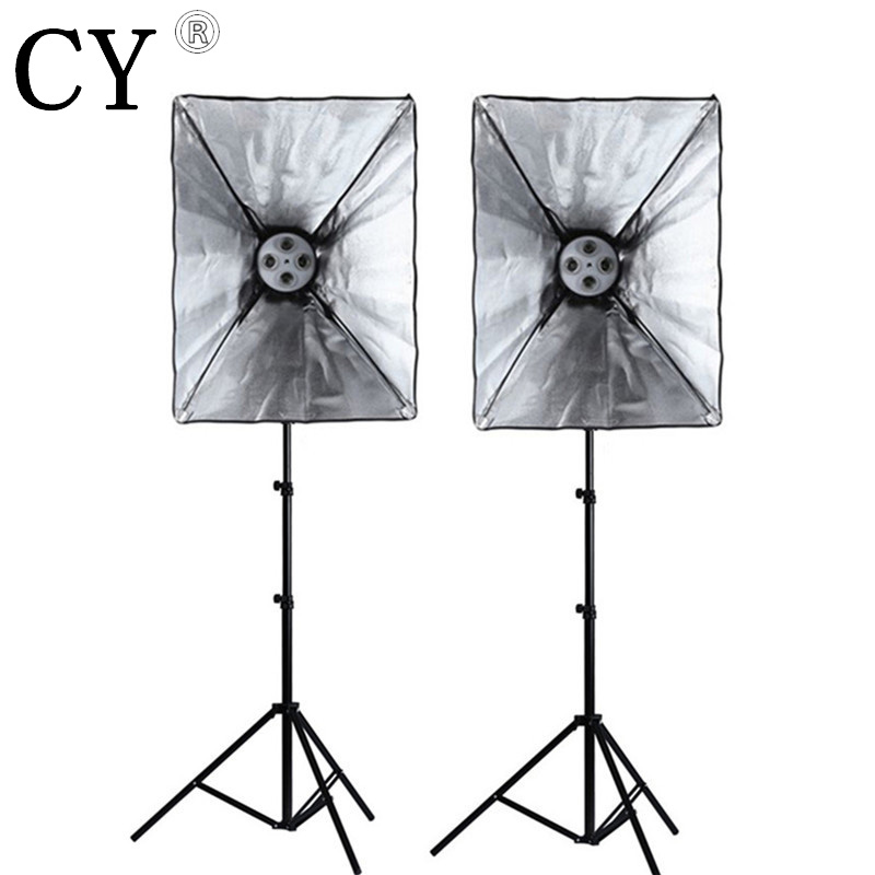 Photo Studio Lighting Kit two 200cm Light Stand + two 110v 50*70cm SoftBox with 4 x E27 lamp holder Hot  free shipping PSK14-US 2250w photo studio continuous lighting 10x45w bulbs 50 70cm softboxes stands kit free shipping via dhl or ems