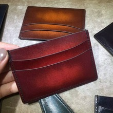 TERSE_Wholesale factory price 10 colors patina card holder leather handmade top genuine leather name id card wallet custom logo