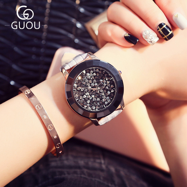 GUOU Watch Luxury Rhinestone women Dress Watches Top Brand ladies Genuine Leather Quartz WristWatch Female Gift relogio feminino keep in touch luxury women watches top brand quartz bracelet dress calendar rhinestone ladies watch luminous relogios feminino
